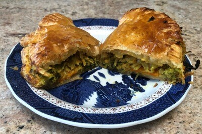 Puffed Pastry Savory Thai Peanut Veggi Pies - 6 Hand Held's or 4 Pot Pie's