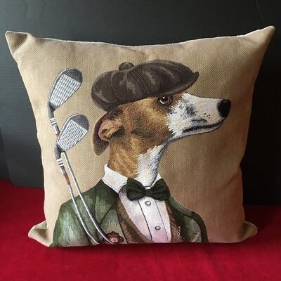 Greyhound Golfer Pillow