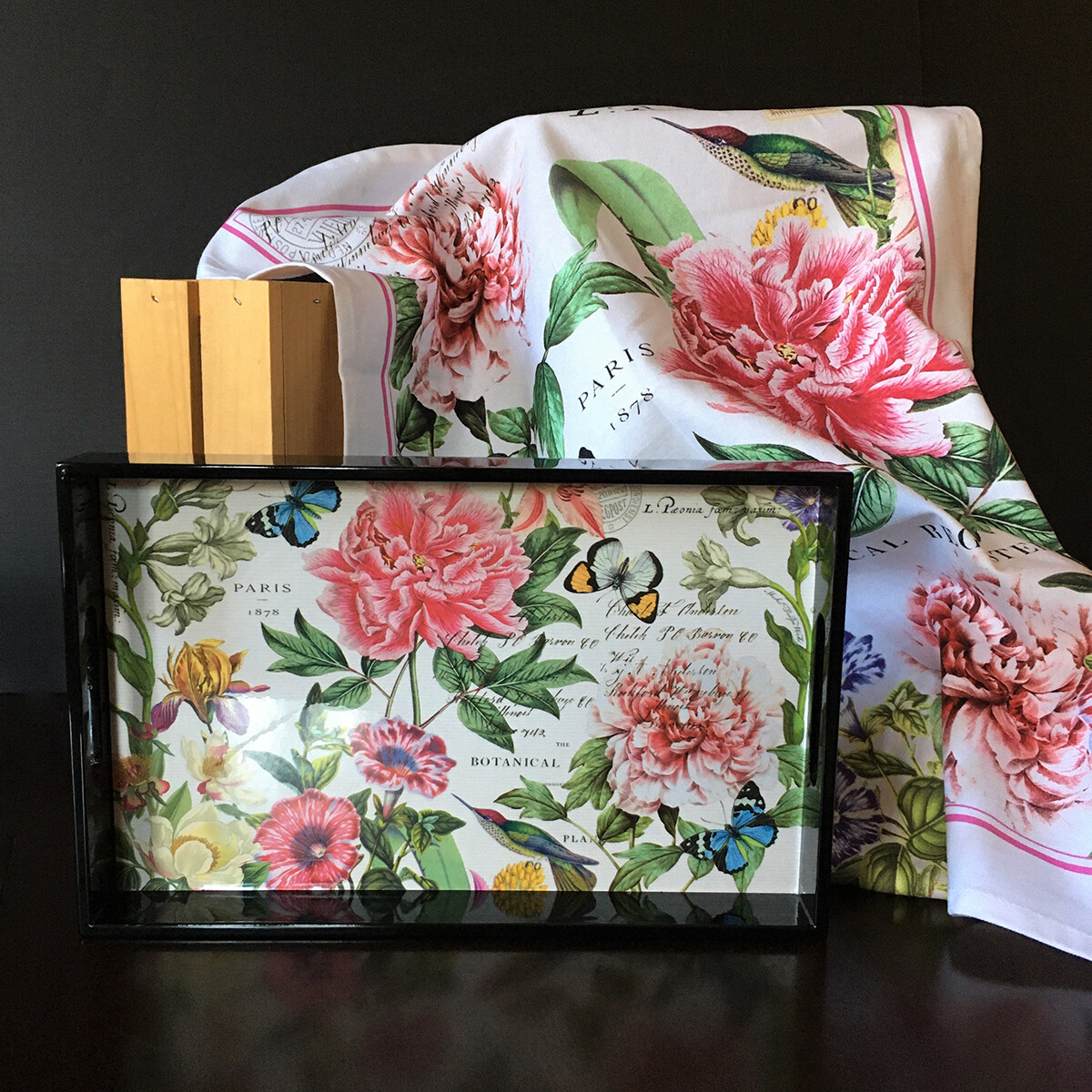 Grand Peonies Decoupage Wooden Tray