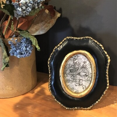 Wooden Beaded Oval Photo Frame
