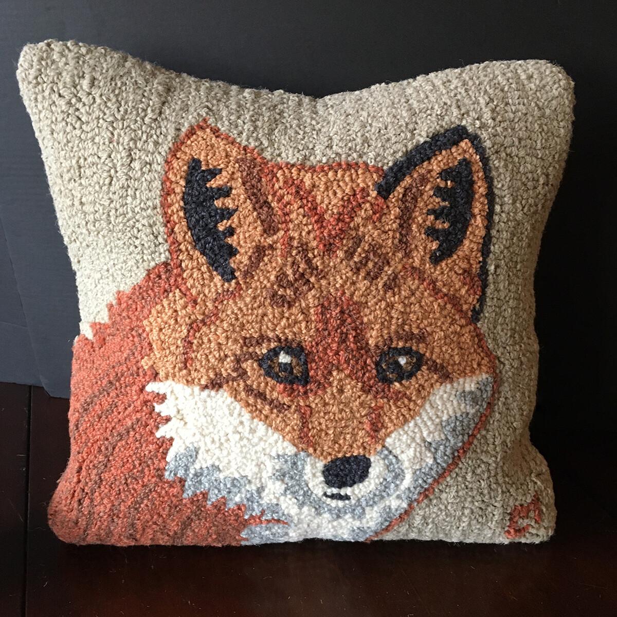 Hooked Wool Fox Pillow