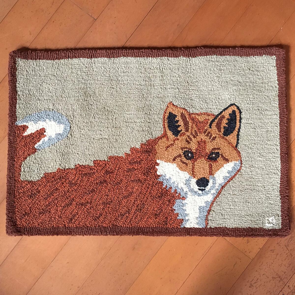 Hooked Wool Fox Rug