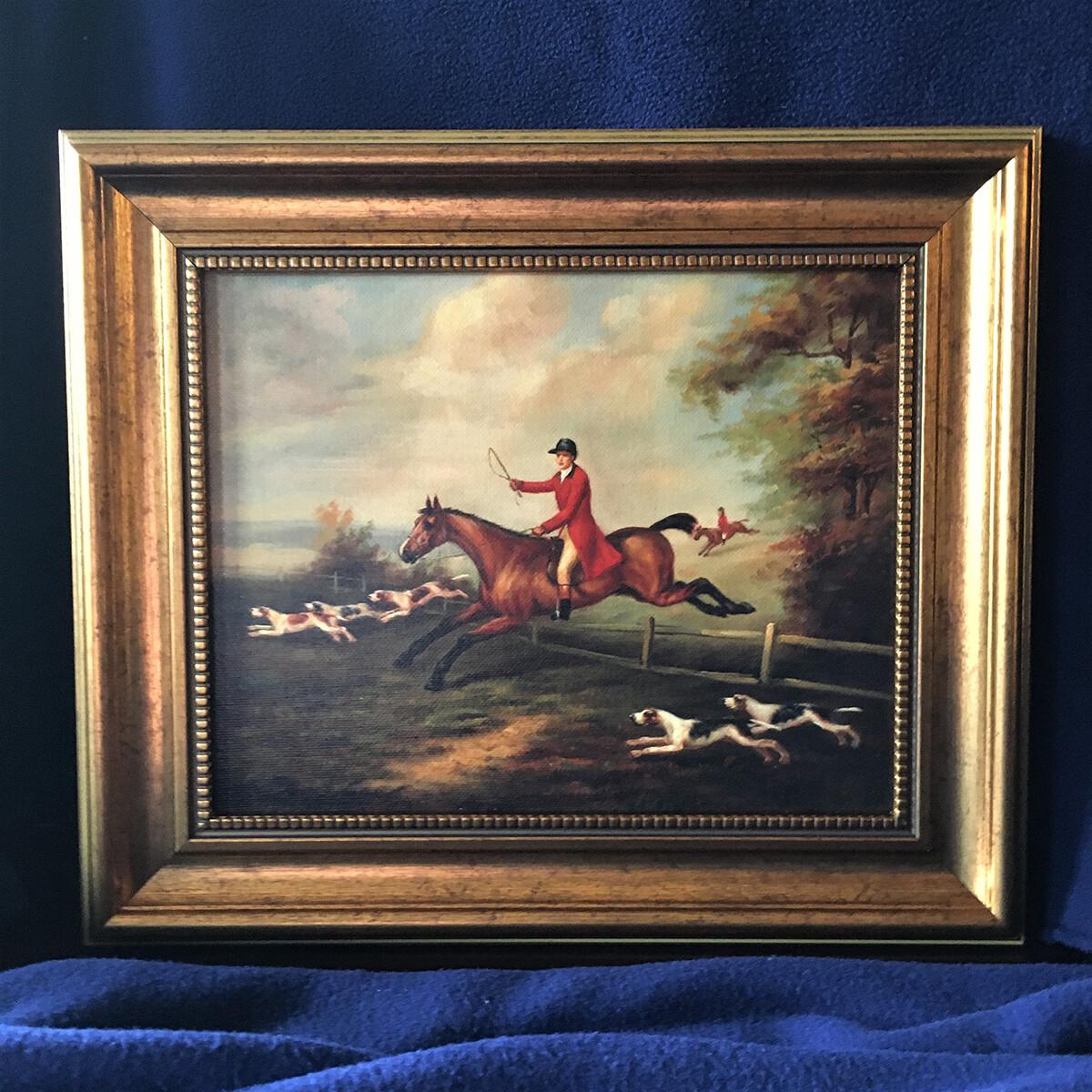 Fox Hunting Scene Framed Canvas
