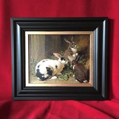 Three Rabbits Framed Canvas