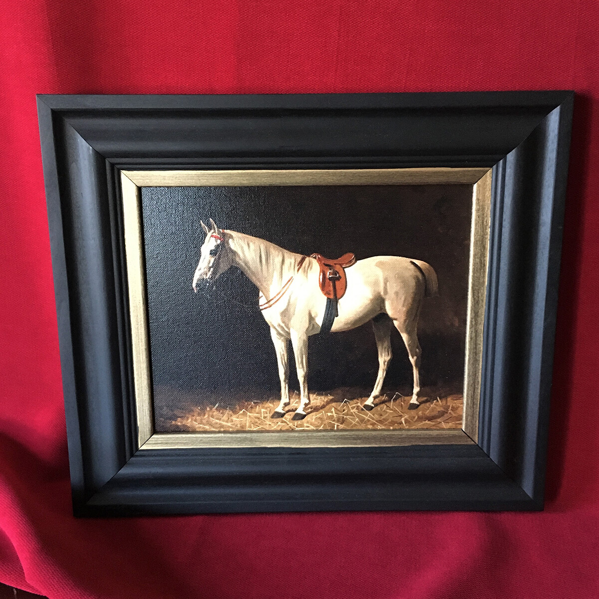 Saddled Horse by the Barn Canvas