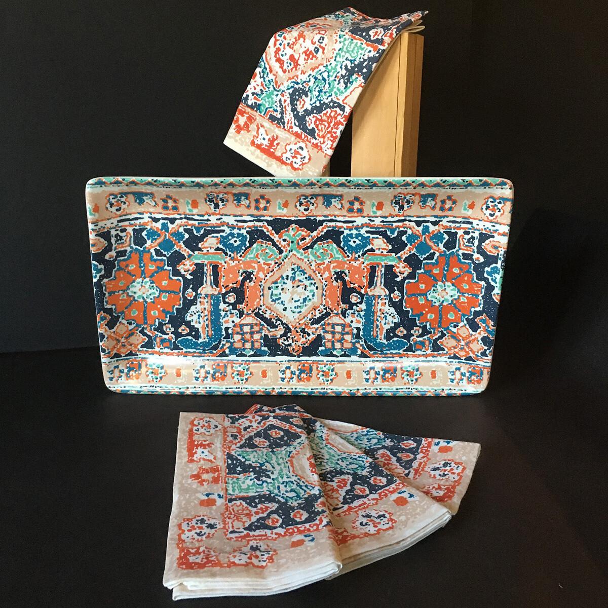 Nomad Stoneware Platter & Napkin Set