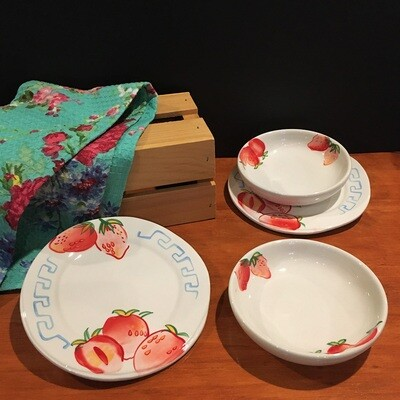 Strawberry Fields Dessert Plate and Bowl Set