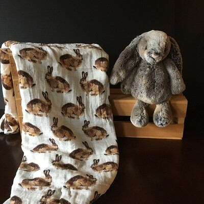 Woodland Bunny and Swaddle Set