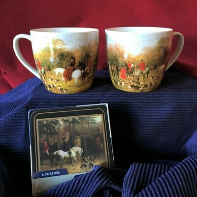 Equestrian Scenes Mug and Coaster Set