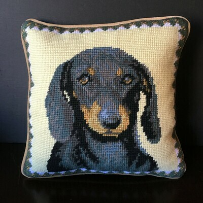 Black & Red Dachshund Needlepoint Pillow