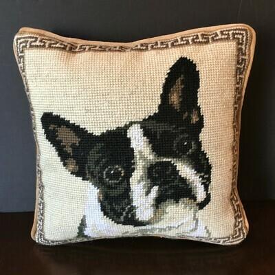 Boston Terrier Needlepoint Pillow
