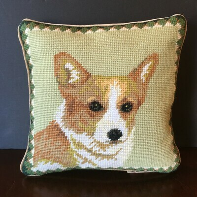Corgi Needlepoint Pillow