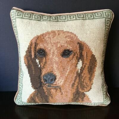 Dachshund Needlepoint Pillow