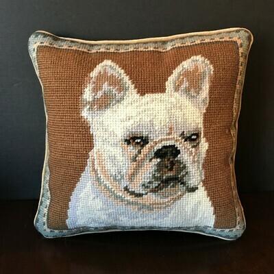 White French Bulldog Needlepoint Pillow