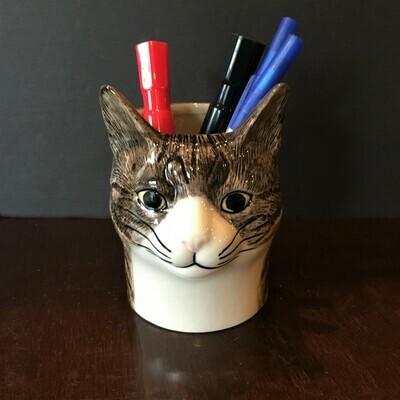 Gray Tabby Cat Pencil Pot