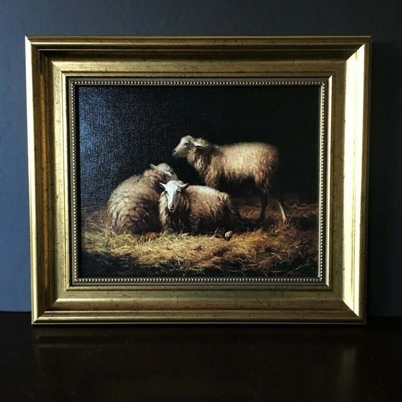 Sheep in the Hay Pastoral Themed Framed Canvas