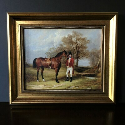Saddled Hunter Equestrian Themed Framed Canvas