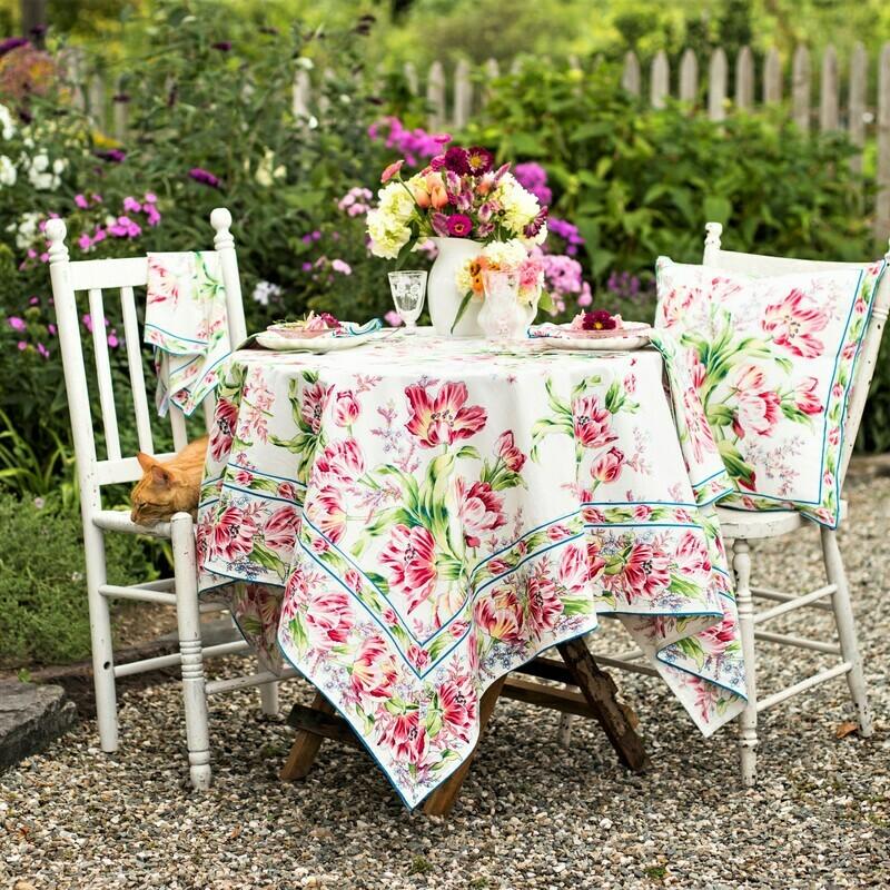 Tulip Dance Tablecloth in White