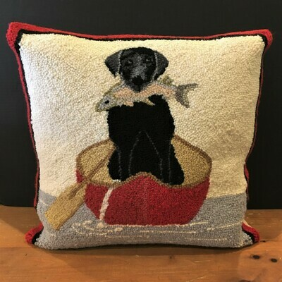 Black Lab Hooked Wool Pillow