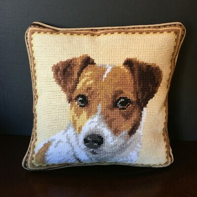 Jack Russell Needlepoint Pillow