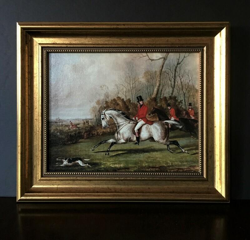 Tally Ho Equestrian Themed Framed Canvas