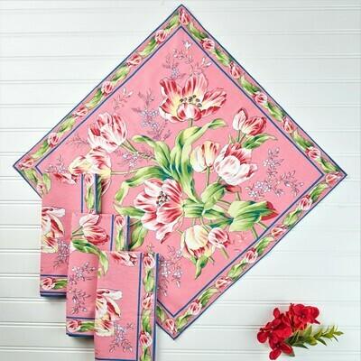 Tulip Dance Napkin Set on Pink