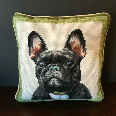 Black French Bulldog Needlepoint Pillow