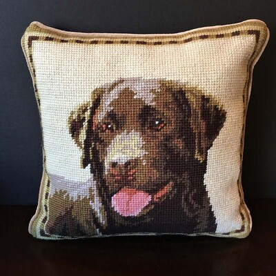 Chocolate Lab Needlepoint Pillow