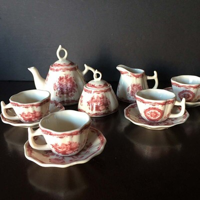 Child's Miniature Porcelain Tea Serving Set