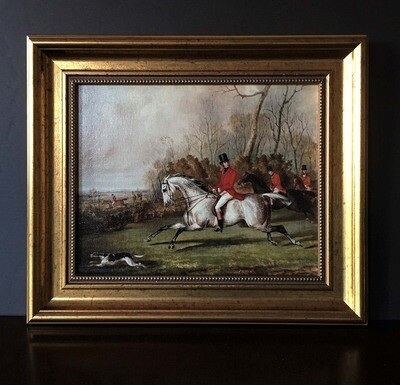 Tally Ho Equestrian Themed Framed Canvas