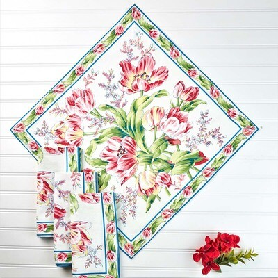 Tulip Dance Napkin Set in White