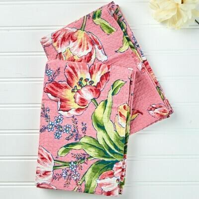 Tulip Dance Hand/Tea Towel in Pink