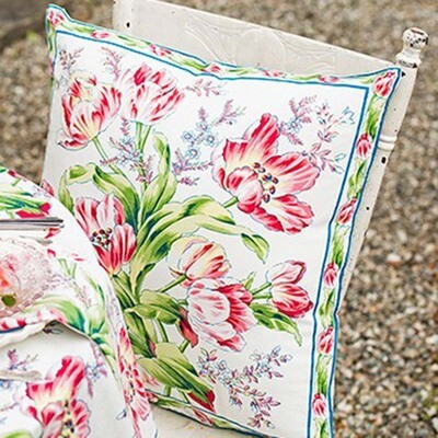 Tulip Dance Pillow in White