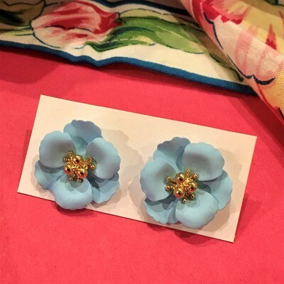 Blue Petunia Post Earrings