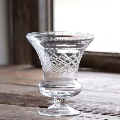 Etched Urn Style Glass Vase