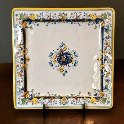 Tuscany Rooster Square Melamine Serving Plate