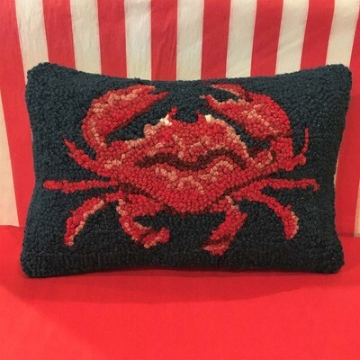 Hooked Wool Shore Crab Accent Pillow