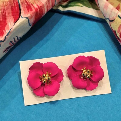 Fuchsia Pink Petunia Post Earrings