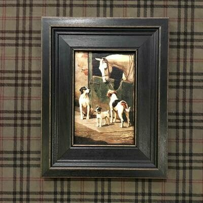 Dogs and Horse at the Stable Framed Canvas