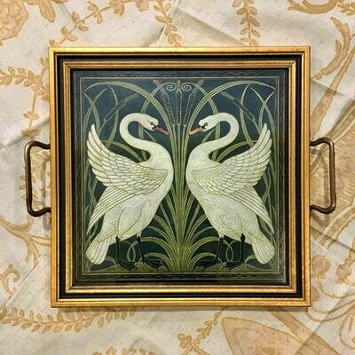 Tale of Two Swans Glass-topped Tray