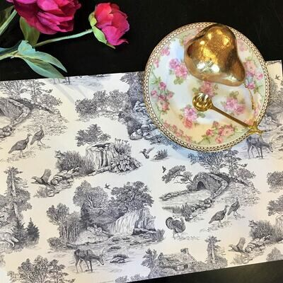 Toile Paper Placemats in Graphite