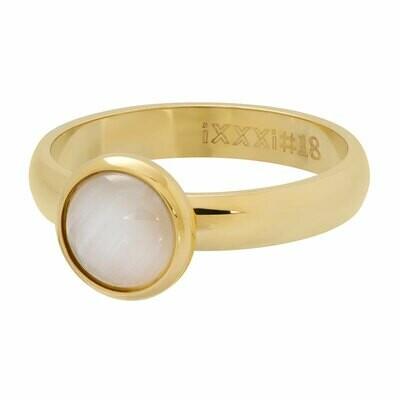 iXXXi Ring 4mm goudkleur - cateye white stone 10 mm