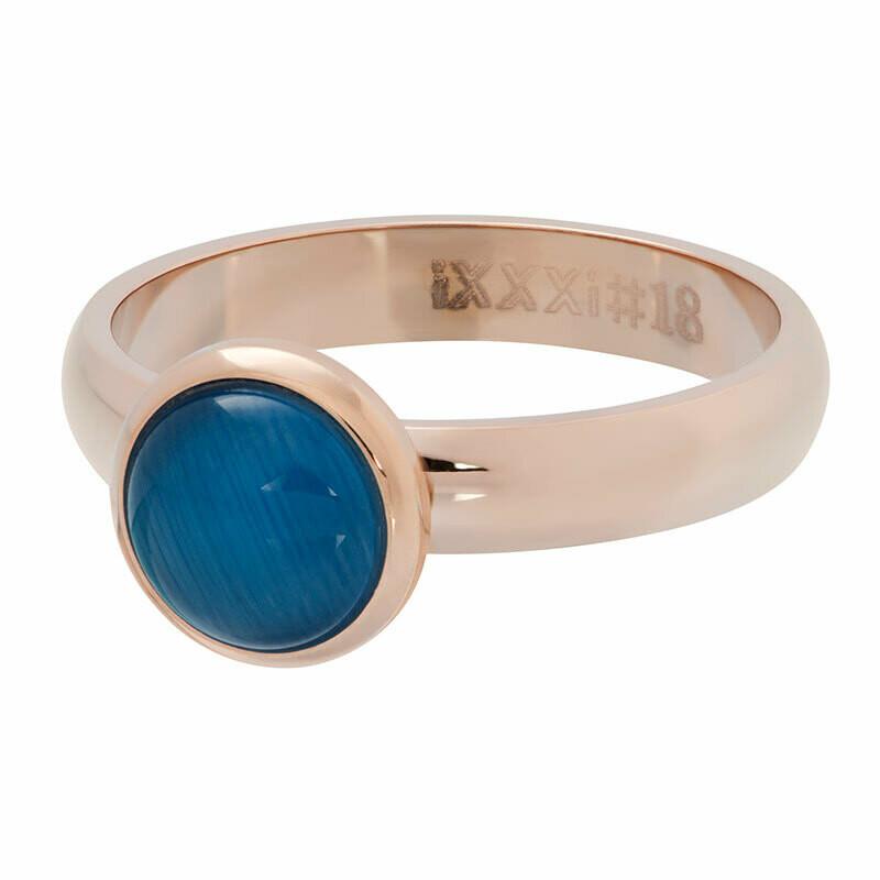 iXXXi Ring 4mm rosekleur - cateye blue stone 10 mm