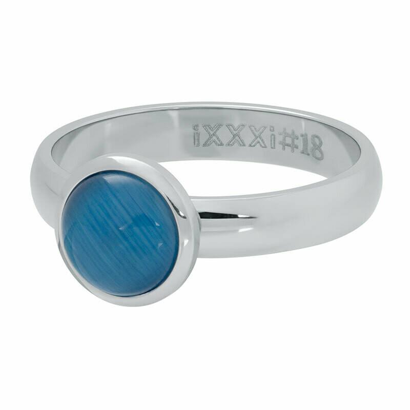 iXXXi Ring 4mm zilverkleur - cateye blue stone 10 mm