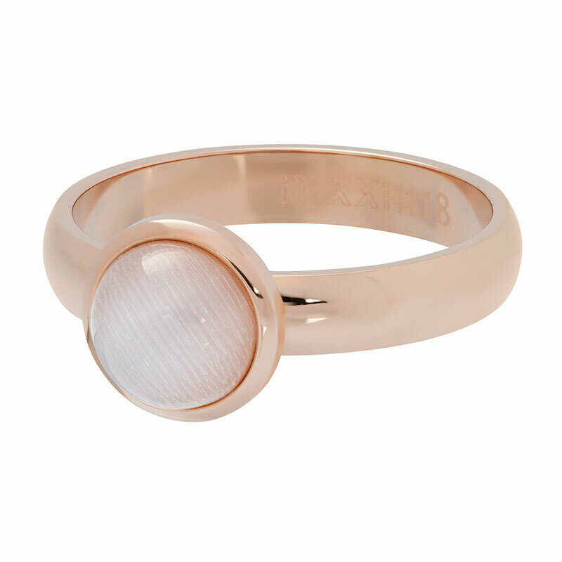 iXXXi Ring 4mm rosékleur - cateye white stone 10 mm