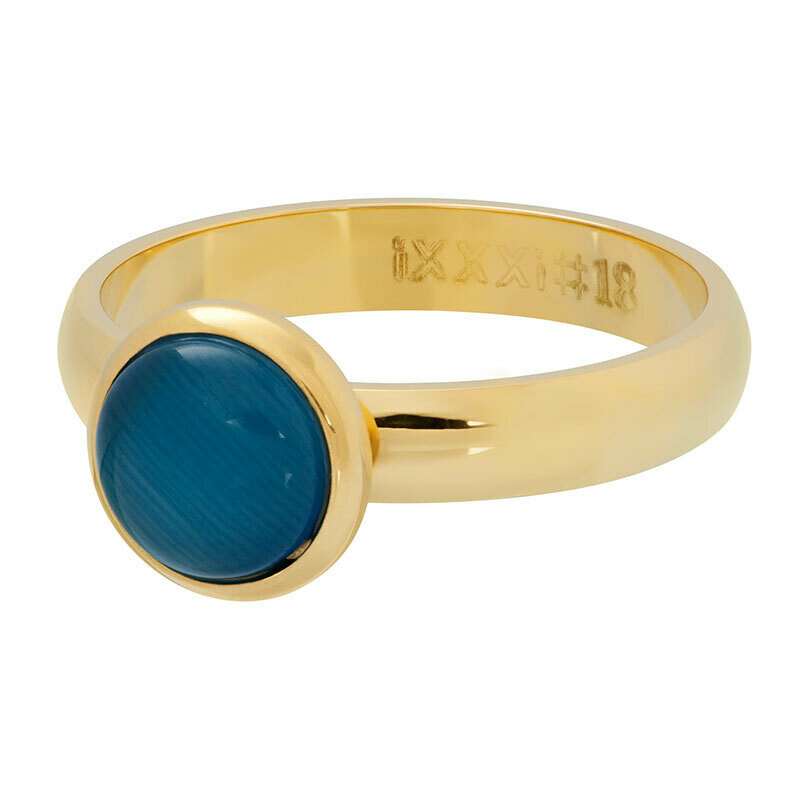 iXXXi Ring 4mm goudkleur - cateye blue stone 10 mm