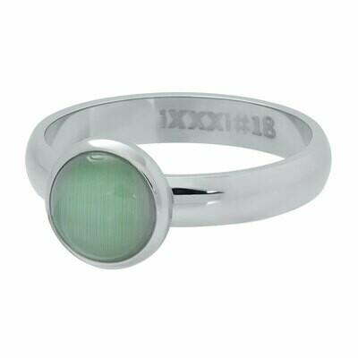 iXXXi Ring 4mm zilverkleur - cateye green stone 10 mm
