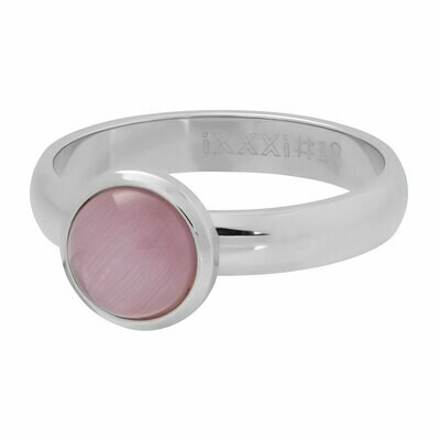 iXXXi Ring 4mm zilverkleur- cateye pink stone 10 mm