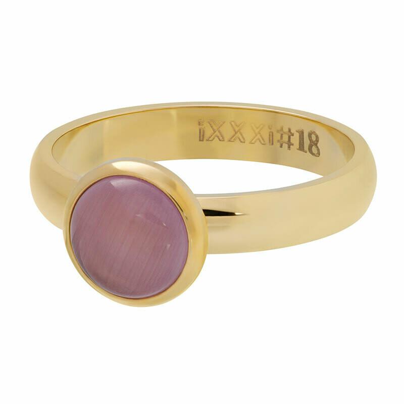 iXXXi Ring 4mm goudkleur- cateye pink stone 10 mm