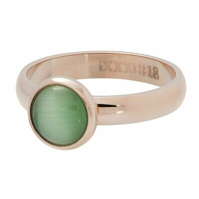 iXXXi Ring 4mm rosekleur - cateye green stone 10 mm